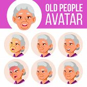 Asian Old Woman Avatar Set Vector. Face Emotions. Senior Person Portrait. Elderly People. Aged. Emot poster