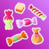 Sweet Cartoon Sticker Candy Set. Collection Of Sweets, Cartoon Style. Candy In Wrap, Wrapping Candy, poster