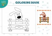 Coloring Page With Funny Dog Vector Illustration. Preschool Kids Activity For Playful Learning With  poster