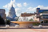 Downtown Madison Wisconsin buildings with Capitol of Wisconsin in the background poster