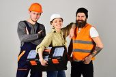 Professional And Confident. Constructing Engineers Or Architects. Professional Working Team. Constru poster