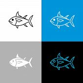 Tuna Fish Icon. Line Style Symbol Of Tuna. poster