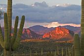 pic of superstition mountains  - Framed Sunset Lit Roblas Butte In Superstition Wilderness Near Phoenix - JPG