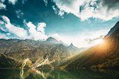 Tatra National Park, Poland. Famous Mountains Lake Morskie Oko Or Sea Eye Lake In Summer Evening. Be poster