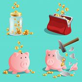 Savings Money, Set Of Piggy Bank, Moneybox, Purse With Gold Coins poster