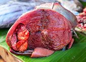 Tuna Fish Cut Closeup Photo. Fresh Sea Fish Close-up. Tropical Seaside Fish Market Table. Tuna Fish  poster