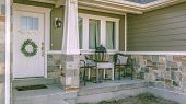 Beautiful Home Exterior With Porch Yard And Stairs poster