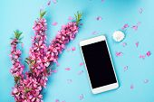 Flatlay With Smartphone Mock Up And Flowers. Floral Pattern At Blue Background. Top View. Flowers Co poster