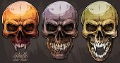 Detailed Graphic Realistic Cool Colorful Human Skulls With Sharp Canines. On Gray Grunge Background. poster