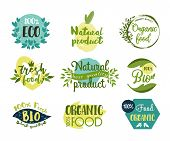 Set Of Isolated Stickers For Organic Food Or Signs For Natural Nutrition. Labels For Eco Fruits And  poster