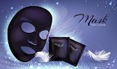 Vector 3d Realistic Banner With Black Sheet Facial Cosmetic Mask And Sachet. Skincare Poster, Mock U poster