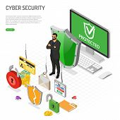 Cyber Security Isometric Concept. Hacking And Phishing. Guard Protects Computer From Hacker Attacks  poster