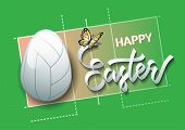 Happy Easter. Easter Egg In The Form Of A Volleyball Ball On A Volleyball Court Background. Vector I poster