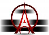 Eiffel Tower Logo Icon, 3d Minimalist Style. Symbol French, Paris, Holiday, Travel Tour. Red Silhoue poster