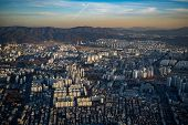 Aerial View Cityscape Of Seoul, South Korea. Aerial View Lotte Tower At Jamsil. View Of Seoul With R poster