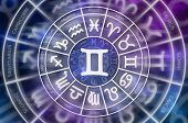 Zodiac Gemini Symbol Inside Of Horoscope Circle - Astrology And Horoscopes Concept poster