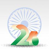 3D text of 26 numbers in orange and green color with Asoka wheel on white background for Republic Da