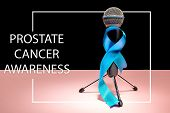 Blue Ribbon Symbolic Of Prostate Cancer Awareness Campaign And Mens Health In November. The Cancer,  poster