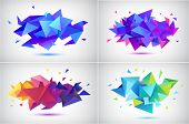 Vector Set Of Abstract Facet 3d Shapes, Geometric Banners. Low Poly Triangle Posters, Modern Concept poster
