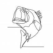 Continuous Line Illustration Of Largemouth Bass, Freshwater Gamefish That Is A Species Of Black Bass poster