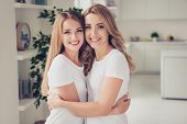 Close Up Photo Cheer Toothy Smiling Two People Mum And Teen Daughter Holding Hands Arms Around Chest poster