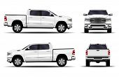 Realistic Car. Truck, Pickup. Front View; Side View; Back View. poster