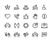 Help Line Icons. Support Health Care, Manual Faq Guide, Family Life Care Community Charity Donate. V poster