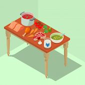 Homemade Food Concept Banner. Isometric Banner Of Homemade Food Vector Concept For Web, Giftcard And poster