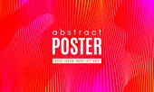 Abstract Background With Gradient Fluid Shapes. Movement Of Neon Liquid. Wave Distorted Abstract Str poster