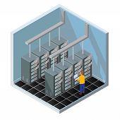 Isometric Vector Illustration Diagnostic Test In A Server Computer Room. Server Test In Room. Server poster