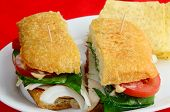 pic of chipotle  - Turkey Ham and Roast Beef cold cuts on Ciabatta bread with tomatoes onions lettuce and Chipotle Mayonnaise with tortilla chips against red background - JPG
