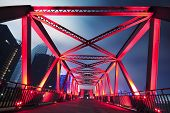 foto of arch foot  - Steel structure bridge close - JPG