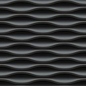 Dark black seamless texture. Wavy background. Interior wall decoration. 3D Vector interior wall pane
