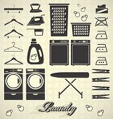 stock photo of laundromat  - Collection of laundry room silhouettes and icons - JPG