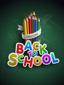 Welcome back to school. Vector illustration.  Elements are layered separately in vector file. Easy e