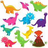 stock photo of dinosaurus  - Vector Collection of Cute Cartoon Dinosaurs and a Volcano - JPG