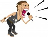 stock photo of rock star  - a rock star screaming into a microphone - JPG
