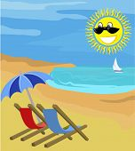 pic of summer beach  - deck chairs on a beach with sunny face and yacht in the distance - JPG