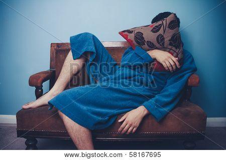 Man In Dressing Gown Sleeping