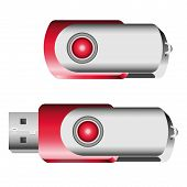 picture of memory stick  - Set of opened and closed red USB memory sticks - JPG