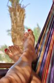 Woman Feet In Hammock - Landscape