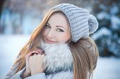 pic of cold-shoulder  - beautiful winter portrait of beautiful woman with hat - JPG