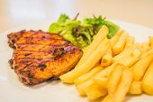 Pork Steak With Salad And French Fries