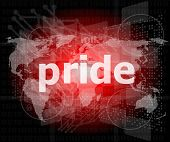 picture of pronunciation  - The word pride on business digital screen - JPG