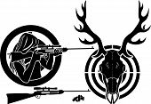 stock photo of rifle  - Isolated stencil symbol set for deer hunting - JPG