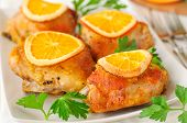 picture of thighs  - Chicken Thighs Roasted with Oranges Slices and Spices