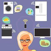 stock photo of televisor  - Blond woman thinking about smart gadgets at home and applications around her - JPG