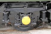 pic of train-wheel  - The Wheel and Suspension of a Diesel Train Engine - JPG