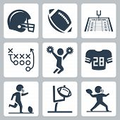 stock photo of cheerleader  - American football vector icons set over white - JPG