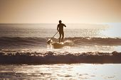 foto of paddling  - Silhouette of a man paddle boarding - JPG